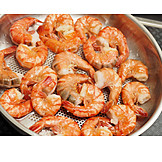 Cooking, Shrimp, Prawns