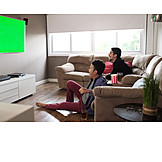 Domestic Life, Watching Tv, Comfortable, Green Screen