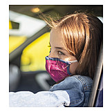 Girl, Car, Mouthguard, Protective Measure