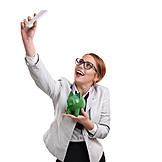 Piggy Bank, Savings, Businesswoman, Selfie