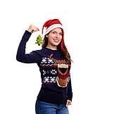 Sweater, Christmas Decorations, Xmas, Santa Hat