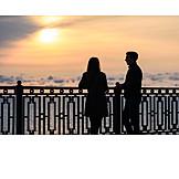 Couple, Sunset, Sea, Meeting