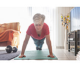 Push Ups, Morning Exercise, Active Senior