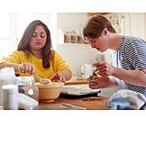 Couple, Home, Kitchen, Baking