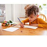 Boy, Birthday, Writing, Mothers Day, Greeting Card