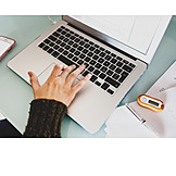 Typing, Laptop, Desk, Working