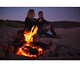 Couple, Beach, Campfire