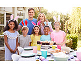 Party, Easter, Easter Celebration, Friends, Dining Table, Rabbit Ears