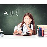 Girl, School, Abc, Learning Reading