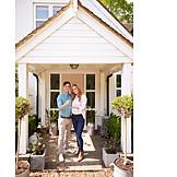 Glücklich, Immobilie, Ehepaar, Neues Zuhause