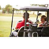 Couple, Golf, Golf Course, Golf Cart