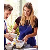 Couple, Cake, Baking
