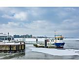 Winter, Rostock, Ferry, City harbor