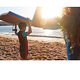 Sunset, Beach, Surfing, Siblings