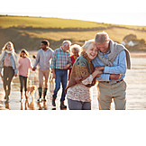 Happy, Beach Walking, Grandparent, Family Outing