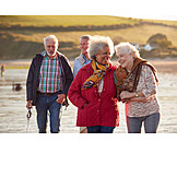 Laughing, Beach Walking, Friends, Older Couple