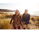 Autumn, Fun, Beach Walking, Older Couple
