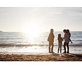Grandmother, Mother, Sunset, Sea, Daughter