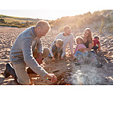 Beach, Broiling, Family, Barbecue