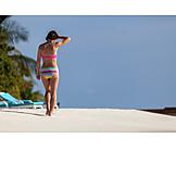 Woman, Beach Walking, Bikini