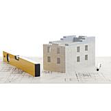 Immobilie, Hausbau, Wasserwaage, Projekt