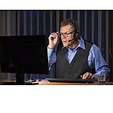 Businessman, Office, Computer, Headset