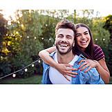 Couple, Happy, Piggyback