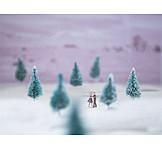 Couple, Winter Landscape, Dancing