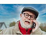 Senior, Mobile Communication, On The Phone