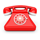 Telephone, Retro, Red, Rotary Phone