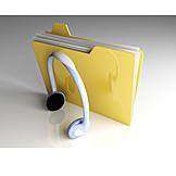 Music, Headphones, Folder, Playlist