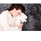 Woman, Dog, Cuddle