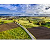 Agriculture, Street, Fields, Upper Bavaria
