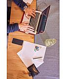 Typing, Laptop, Working