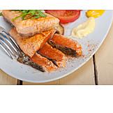 Fischgericht, Lachsfilet