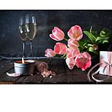 Sekt, Blumenstrauß, Muttertag