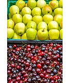 Cherries, Market Stall, Apples