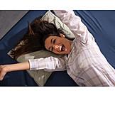 Woman, Laughing, Stretching, Morning