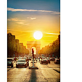 Road Traffic, Arc De Triomphe, Paris, Champs Elysees