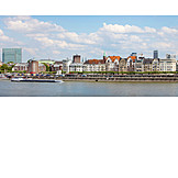 Düsseldorf, Rhine river, Container ship