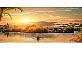 Sunset, Rowboat, Nile River