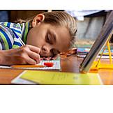 Teenager, Tired, Homework