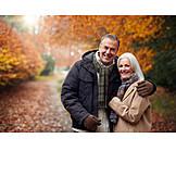 Embracing, Love, Walk, Older Couple