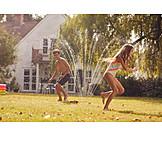 Summer, Cooling, Siblings, Sprinkler