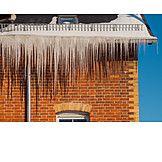 Winter, Danger, Icicle, Roof Edge