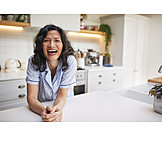 Woman, Laughing, Happy, Home, Morning