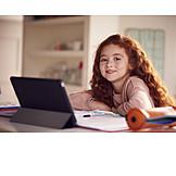 Girl, Home, School, Online, Homework