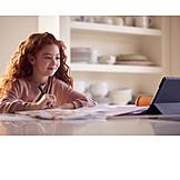Girl, Home, Online, Homework, School