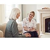 Gespräch, Altenpflege, Hausbesuch, Häusliche Pflege