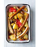 Greasy, Sausage, Crispy, Grilled Vegetables